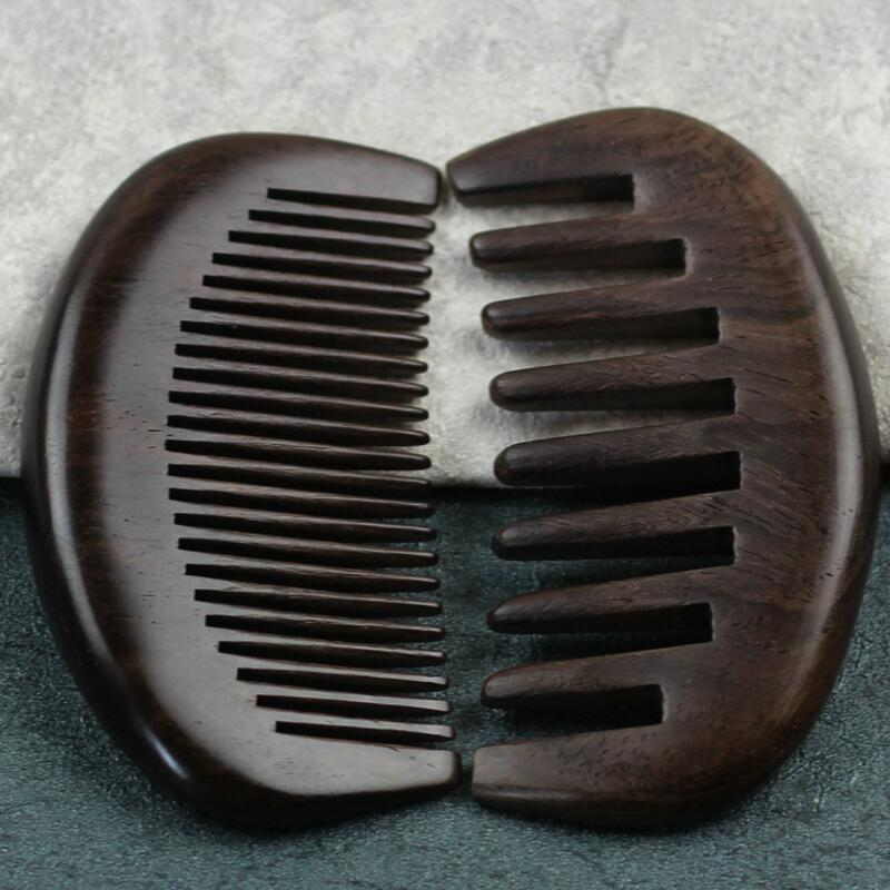 4pcs Retro Natural Africa Black Sandalwood Combs Hairbrush Anti-static Health Massage Hair Brush Wooden Comb Peine Beard Comb