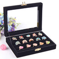 Portable Velvet Glass Jewelry Rings Earrings Hard Display Organizer Hot New Fashion Bracelet Necklace Holder Storage Boxes
