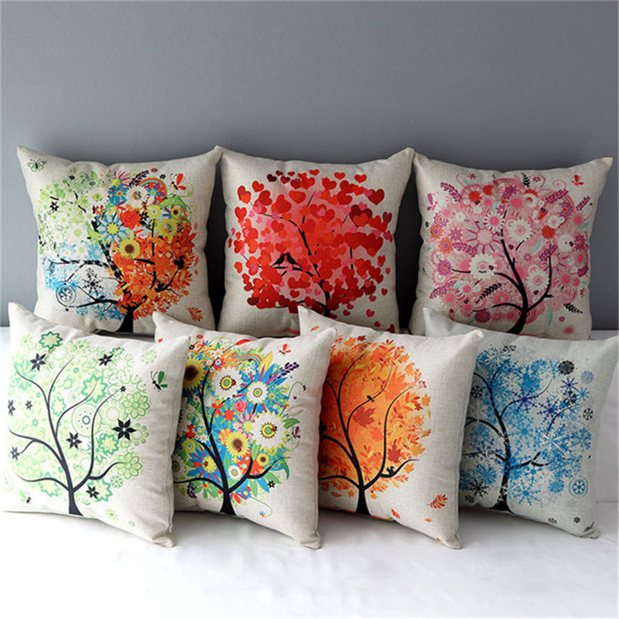 18 square pastoral life tree beautiful cotton linen cushion sofa decorative throw seat pillow. Black Bedroom Furniture Sets. Home Design Ideas
