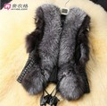 2016 Female Faux Fox Fur Vest Lady Leather Vest Outerwear Short  Women colete de pele feminina Plus Size Fur Gielt Coat G443