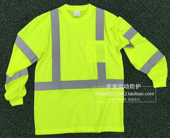 Article reflective vest long sleeve POLO shirt bird 's-eye breathable perspiration cloth round neck long sleeve shirts