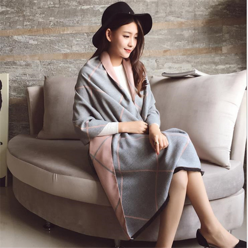 Women Pashmina Winter Spring   Scarves     Wrap   Shawl Thick Women's   Scarf   Plaid Warm Cotton Cashmere Wool Blended Brushed Women   Scarf