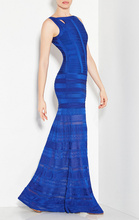 Free Shipping New Arrivals 2016 Women Dresses Pointelle HL Blue Long Bandage Dress Gown