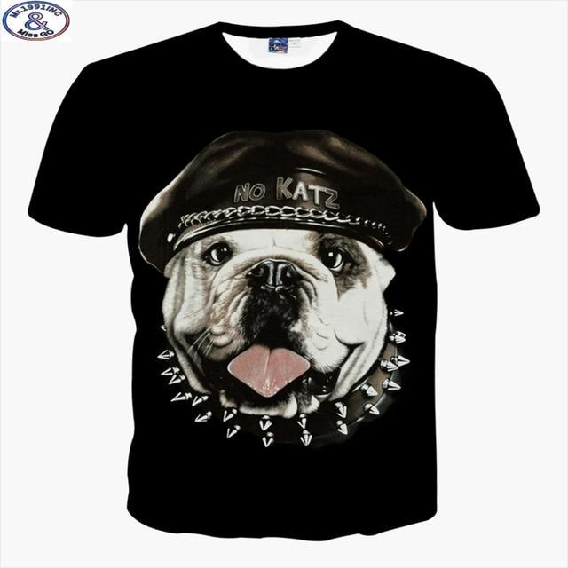 Mr.1991 brand cute pug 3D t-shirt for boys  New 2017 summer style hip-hop teens t shirt big kids tops Hot sale A42