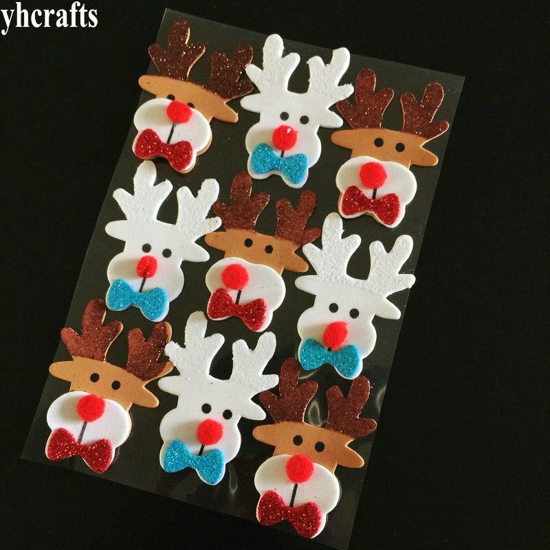 1Bag/Lot,3D Glitter Christmas Deer Elk Foam Stickers Xmas Tree Decoration Window Wall Fridge Stickers Gifts Favor Toys Craft OEM