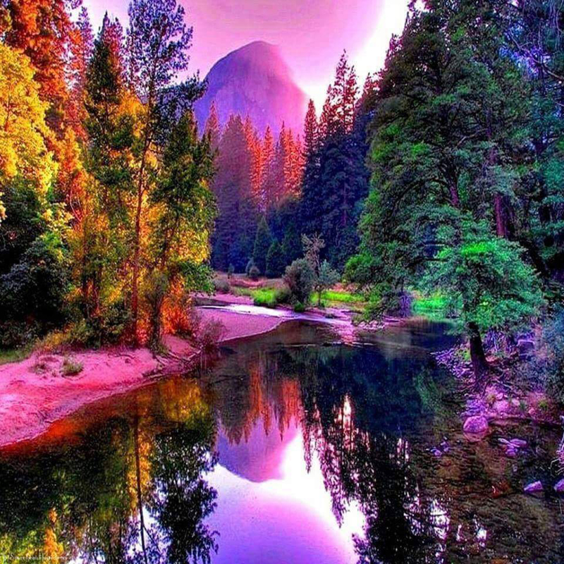 Full Diamond Painting Beautiful A Landscape Of Lakes And Mountains Diy Diamond Embroidery For Living Room A Good Gift For Family