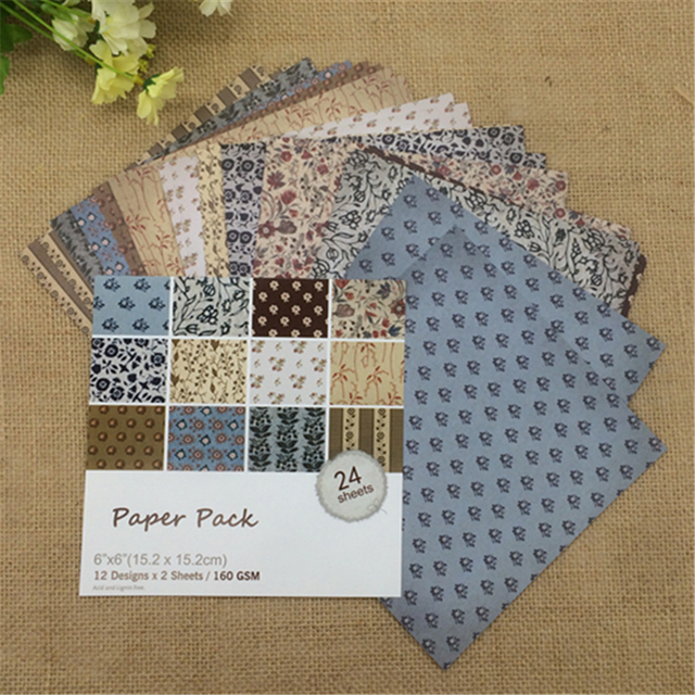 24 Sheets  Square Floral Flowers Scrapbooking Pads Paper Origami Art Background Paper Card Making DIY Scrapbook Paper Craft