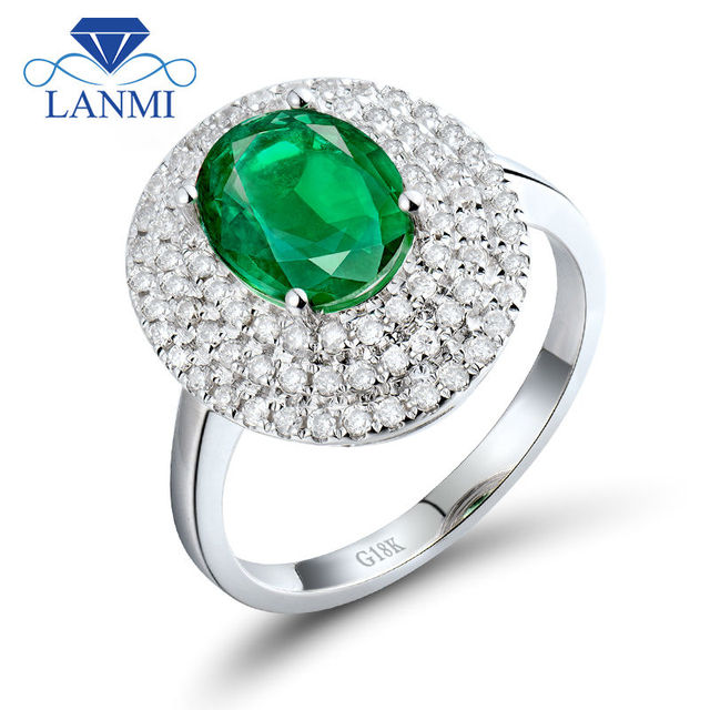 22ct Natural Emerald And Diamond Wedding Ring In Solid 18k White