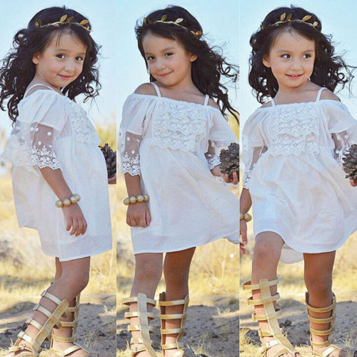 3 to 7 Year Lovely Little Girls Lace Tulle Dress Beach Princess Dresses Baby Girl Clothes Wedding Mini Tutu White Dresses image
