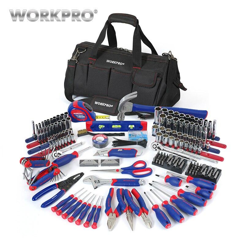 Workpro 322 pc conjunto de ferramentas manuais ferramenta de reparo em casa com saco de ferramentas