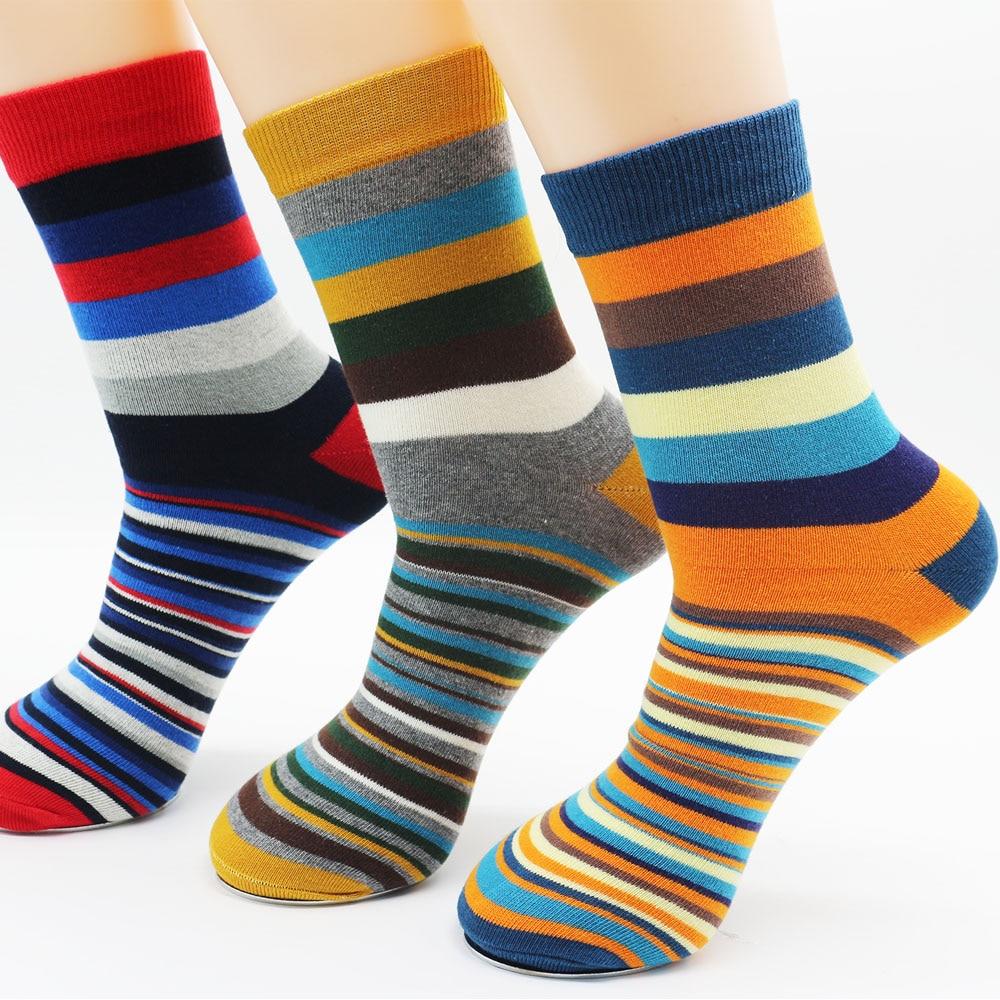 Men Cotton Stripe Socks Brand New Multi-Color Anti-Bacterial Comfortable Deodorant Breathable Casual Man Sock (3 Pairs / Lot)