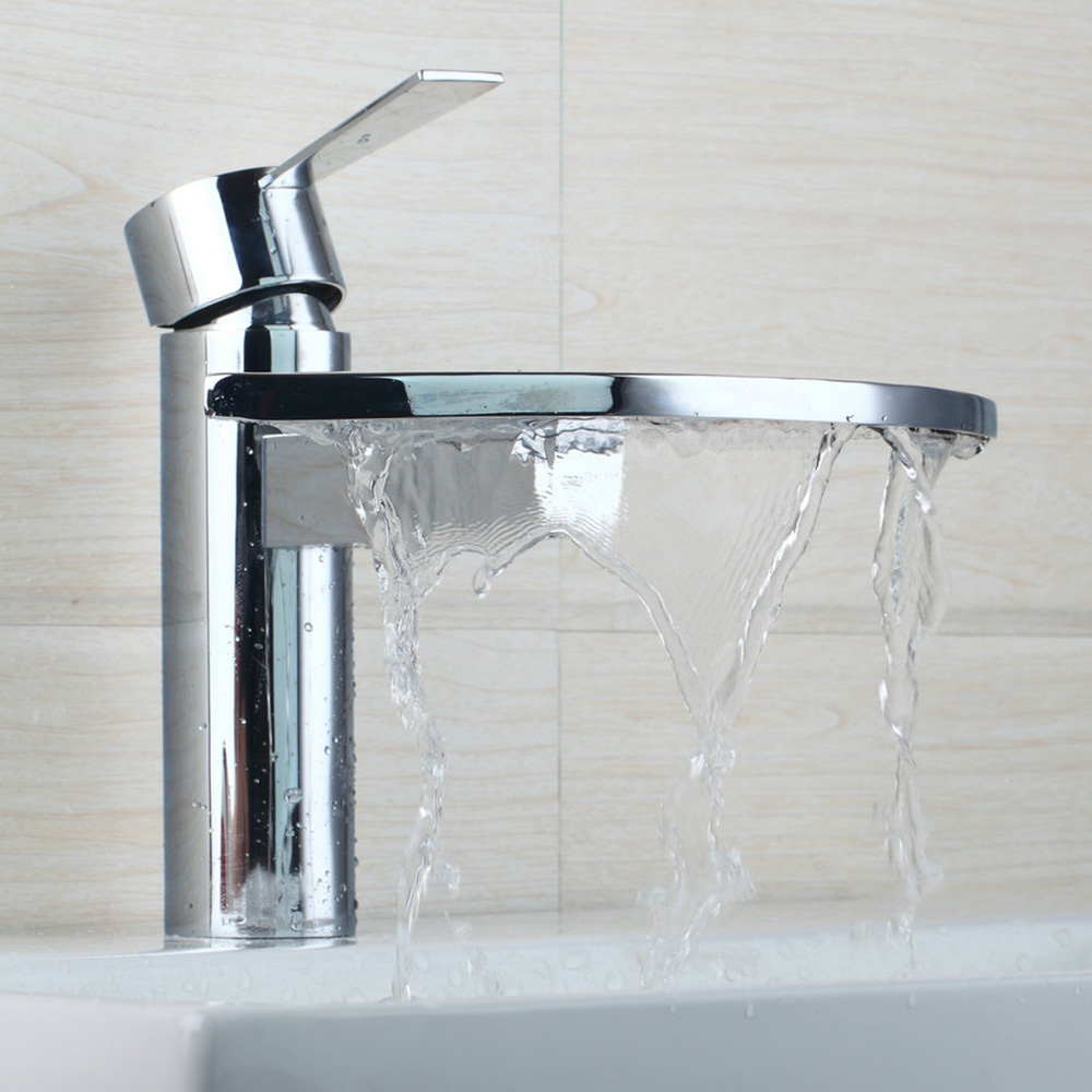 Contemporary Waterfall Basin Faucet Chrome Polished Single Handle Ceramic Hot Cold Water Excellent Basin Faucet kicx sc 600 1