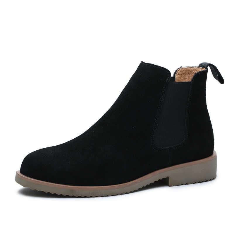 Nieuwe collectie mens chelsea laarzen slip-on echt lederen schoenen wees teen enkellaars comfortabele korte laarsjes tooling botas man