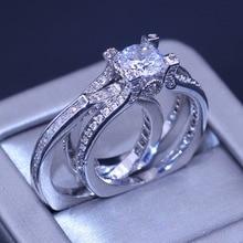 Rozmiar 5 10 nowych kobiet moda biżuteria 925 Sterling Silver wypełniony okrągły Cut 5A wyczyść biały CZ cyrkonia obrączka ślubna zestaw prezent