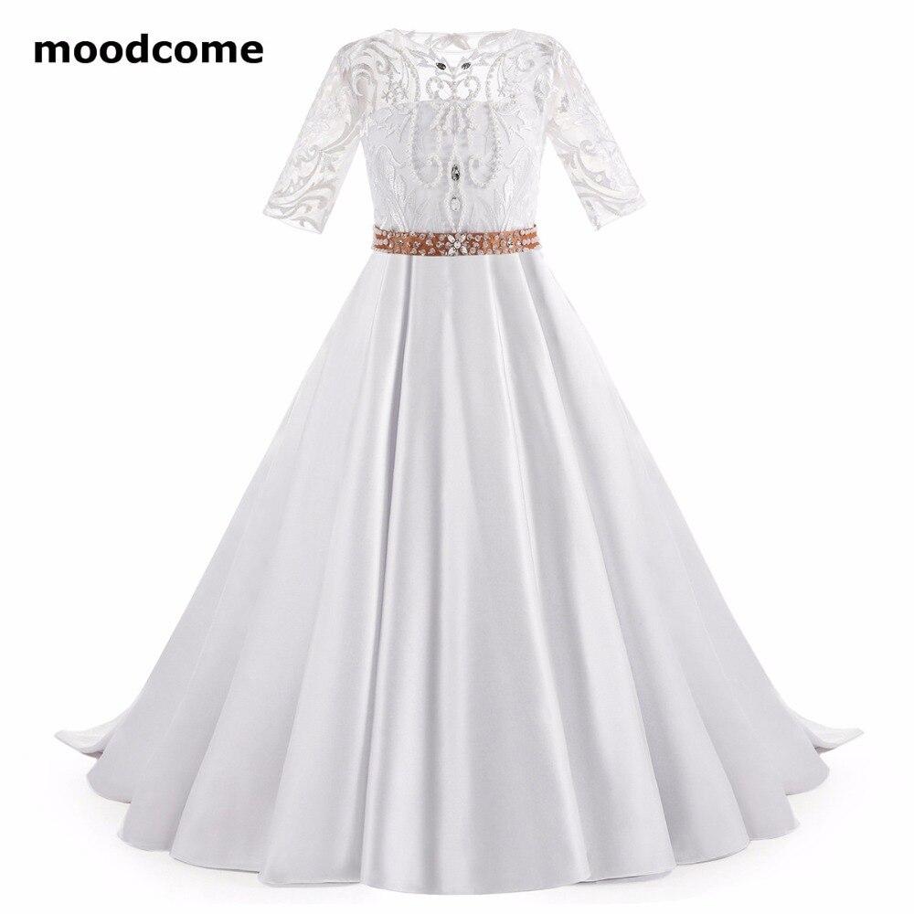 2018 New Cheap Flower Girl Dresses Floor Length Satin Short Sleeve A