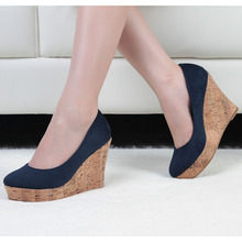 Women Flock Black High Heels Wedges Platform Dress/party Shoes Blue