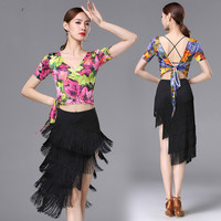 New Latin Dance Dress Women Sexy V neck Printing Costume Silk Oblique Fringed Long Skirt Suit Women Competition Dress