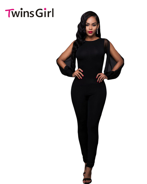 New Fashion Autumn 2016 Black Sheer Split Long Sleeve Open Back Jumpsuit long LC64141 One Piece Jumpsuit macacao feminino longo