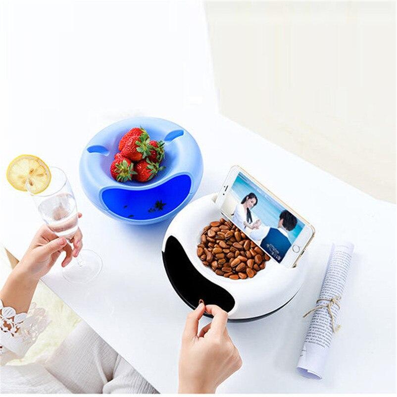 Творческий Многофункциональный Малый Пластик сухие фрукты семена закуски хранения Коробки с мусором держатель ленивый телефон стойки хра...