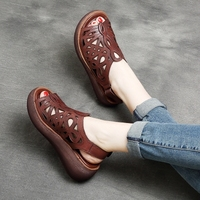 Tyawkiho Genuine Leather Women Sandals 6 CM High Heels Wedge Summer Shoes Fish Mouth Women Leather