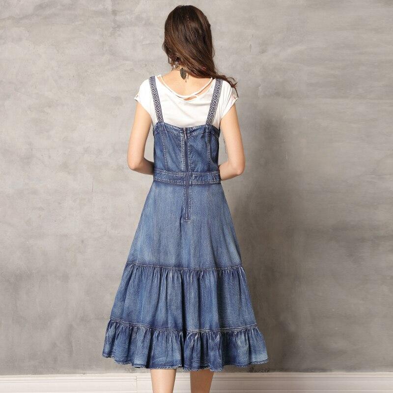 여름 드레스 2019 yuzi. may boho 새로운 데님 vestidos 슬래시 목 민소매 빈티지 자수 주름 장식 드레스 여성 a82139-에서드레스부터 여성 의류 의  그룹 3