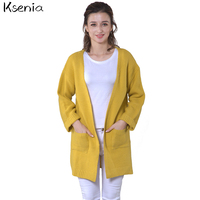 Ksenia 2017 Autumn Pull Femme Korean Women Loose Solid Color Pocket Design Sweater Girl Casual Long