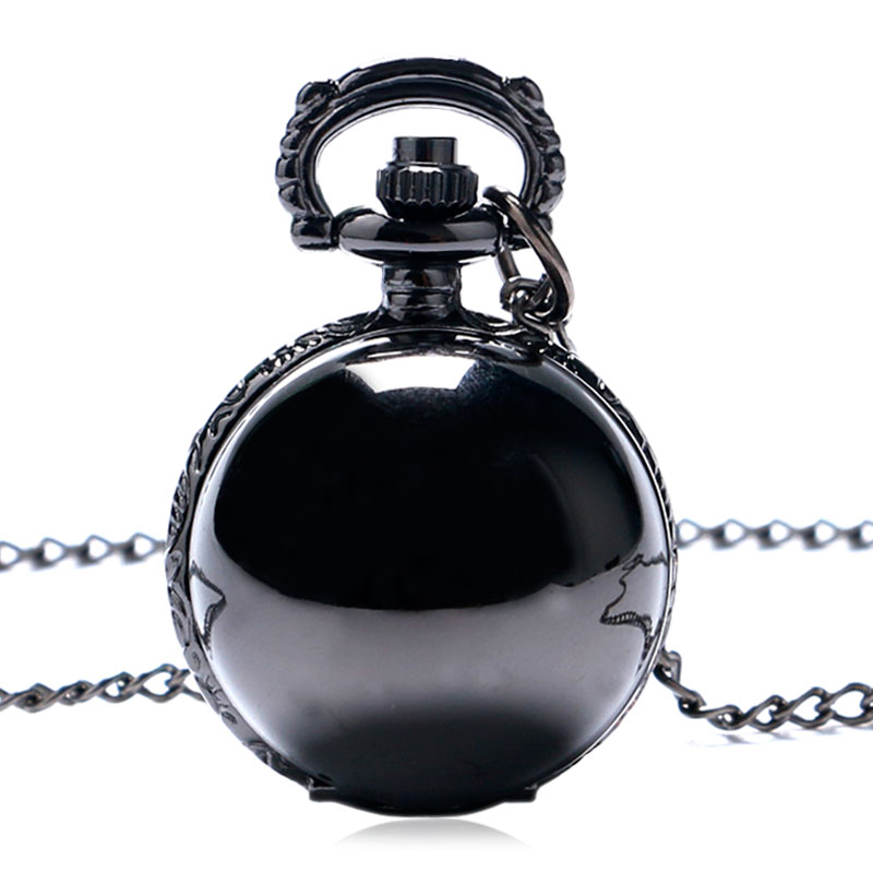 Black Steampunk Smooth Ball Shaped Quartz Pocket Watch Necklace Pendant with Chain Womens Lady Gift Relogio De Bolso P68 lancardo fashion brown unisex vintage football pendant antique necklace pocket watch gift high quality relogio de bolso