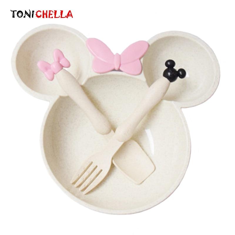 3 шт./компл. маленьких Еда хранения бамбука посуда, блюда дети плиты чаша Экологичные обучение детей посуда BB5077
