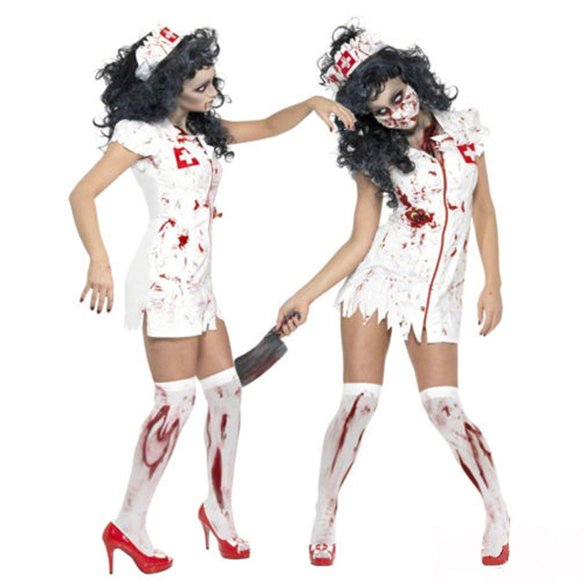 halloween party cosplay nurse costume fashion dress clothes party new adult horror clothes bloody scary girl