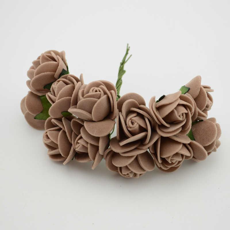 12 pcs/lot Simulation Mini Rose fleur artificielle mousse fleur fleurs bricolage boule guirlande coiffure décoration de mariage fleurs de mariée