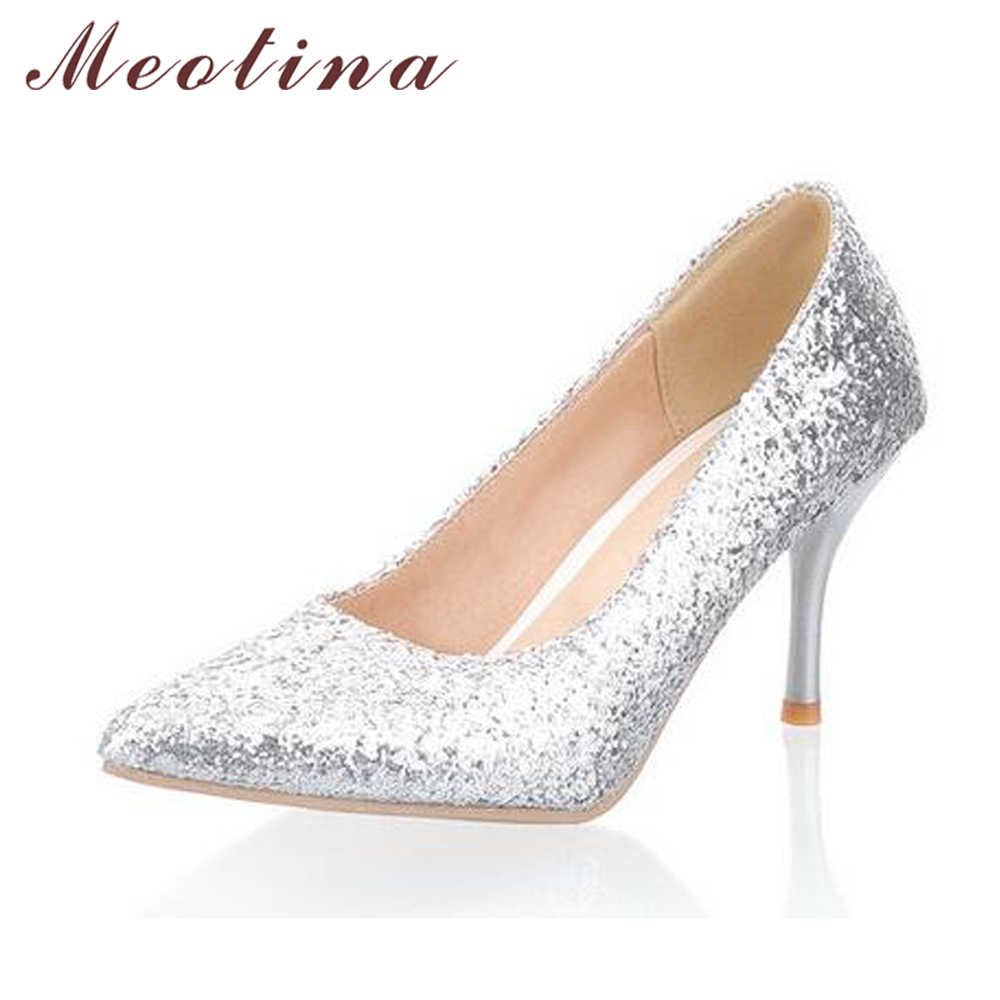 Meotina Shoes Women Pointed Toe High Heels Glitter Pumps Thin Heels White Wedding Bridal Shoes Sliver Gold Big Size 9 10 meotina high heels shoes women pumps party shoes fashion thick high heels pointed toe flock ladies shoes gray plus size 10 40 43