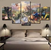 5 панелей HD с Красавица и Чудовище Фильм Уолл Книги по искусству Холсты для рисования печать декор комнаты печати плаката картина холст P0623