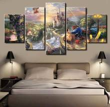 5 Panels Hd Printed Beauty And The Beast Movie Wall Art Painting Canvas Print Room Decor Print Poster Picture Canvas P0623