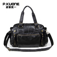 P KUONE 2016 Hot Sell Fashion Vintage Men Shoulde Bag High Quality PU Leather Big Capacity