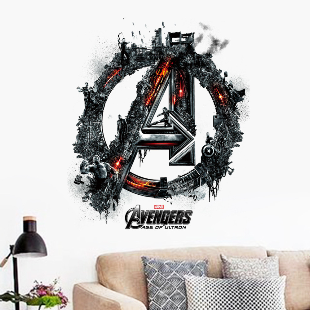 Online get cheap superhero stickers kids aliexpress alibaba avengers logo wall stickers superheroes wall decal art room decoration wallpaper kid captain america eagle eye hulk black poster amipublicfo Gallery