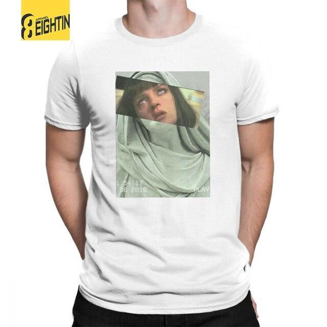 Vaporwave T-Shirts Ästhetischen Pulp Fiction T Shirts Männer der 100% Baumwolle Crewneck T-shirts Kurzarm Funky Klassischen Großen größe