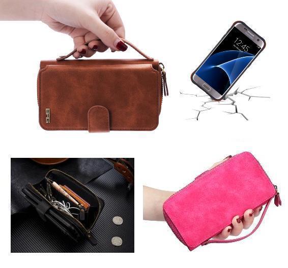 Nouveau sac à main fermeture à glissière en cuir pochette multifonction porte-carte sac à main portefeuille housse de téléphone pour iphone 5/5 S/6/6 S/6plus/6splus