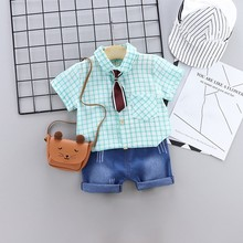2019 New Summer Baby Girls Boys Short Sleeve Plaid Print Tie Tops Blouse Shirt+Denim Shorts Children Casual Outfits Sets 6M-4Y girls calico print blouse with frill trim shorts