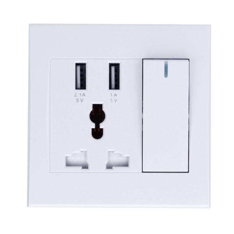 Universal USB Wall Socket 86 Type Concealed Dual USB Charging Wall Socket for PC iPhone Samsung Phone Tablet with Switch