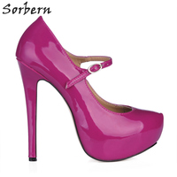 Sorbern Women Black Office Shoes Mary Janes Women Dressing Shoes Women Purple Evening Dresses Custom Colors Drop Shipping Pumps