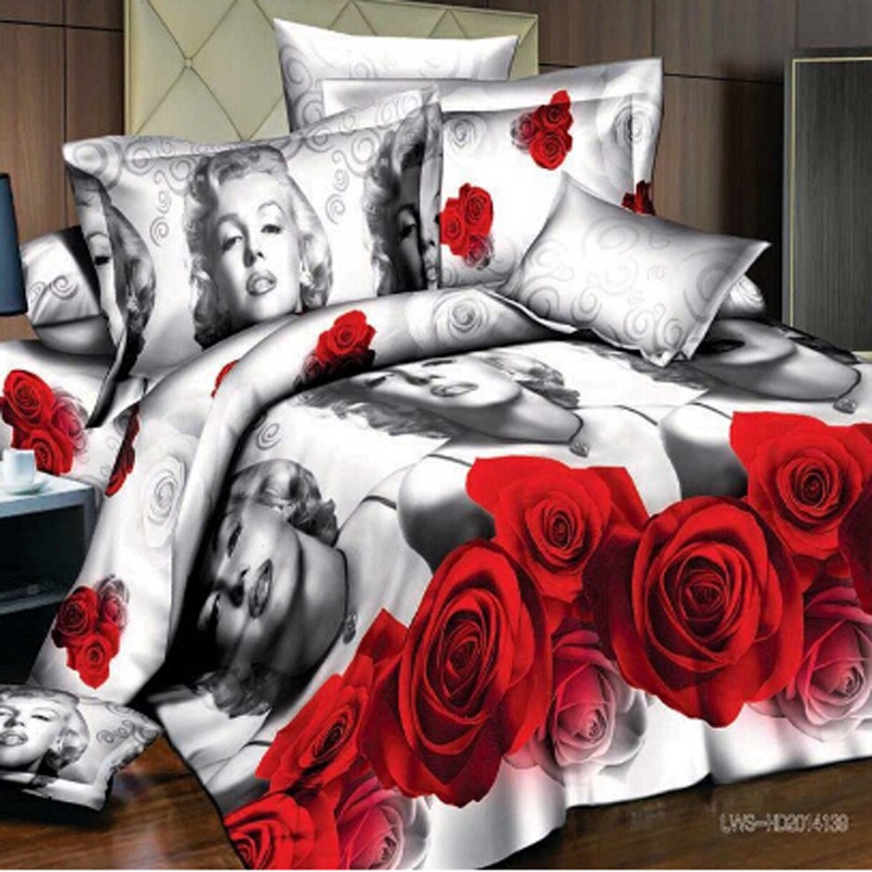 4 Pieces 3D Rose Floral Duvet Cover Double Bed Linens, Bed Sheet Set ,Red  Rose Bedding Sets Flower Bedspreads King Size Bedding In Bedding Sets From  Home ...