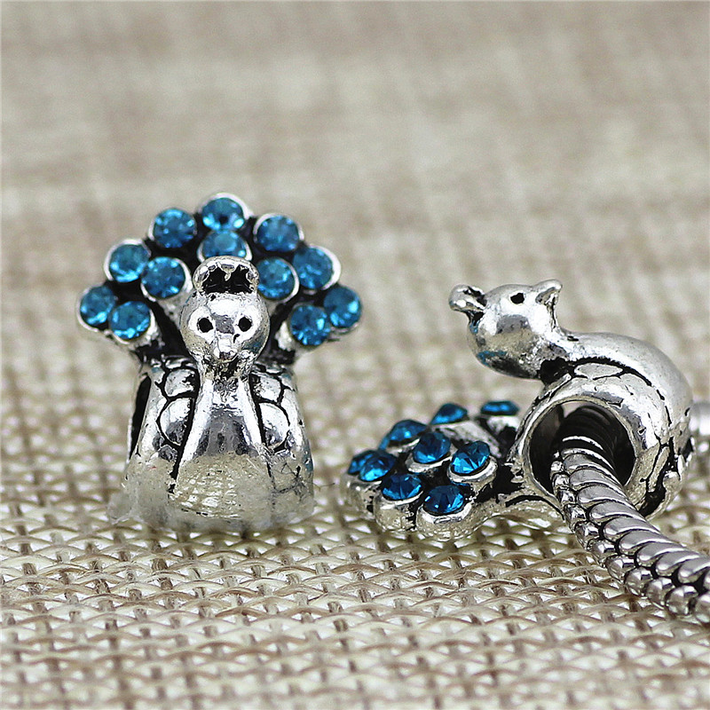 peacock Beads Fit diy Pandora Charms Antique Silver cz heart lion DIY Beads Charm for Jewelry Making