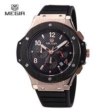 Megir Reloj Hombre CRONÓGRAFO 24 Horas Función de Deporte de Los Hombres de negro De Silicona Reloj de Oro de Lujo Reloj Militar del relogio masculino 3002G