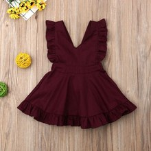цены Girls Dress 2019 Summer New Girl V-neck Dress Baby Cotton Wine Red Princess Dress