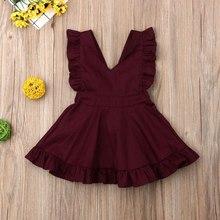 цены Girls Dress 2019 Summer New Girl V-neck Dress Baby Cotton Wine Red Princess Dress