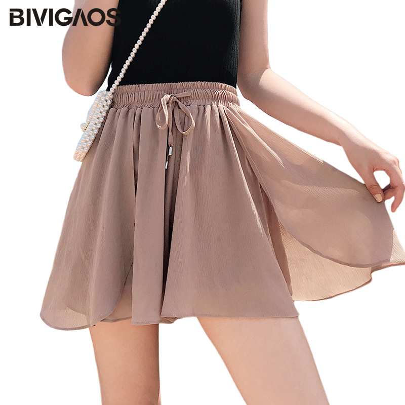 BIVIGAOS Summer Ruffled Petals Chiffon Skirt Shorts New Tide Thin High Waist Loose Wide Leg Shorts Women Casual Short Culotte