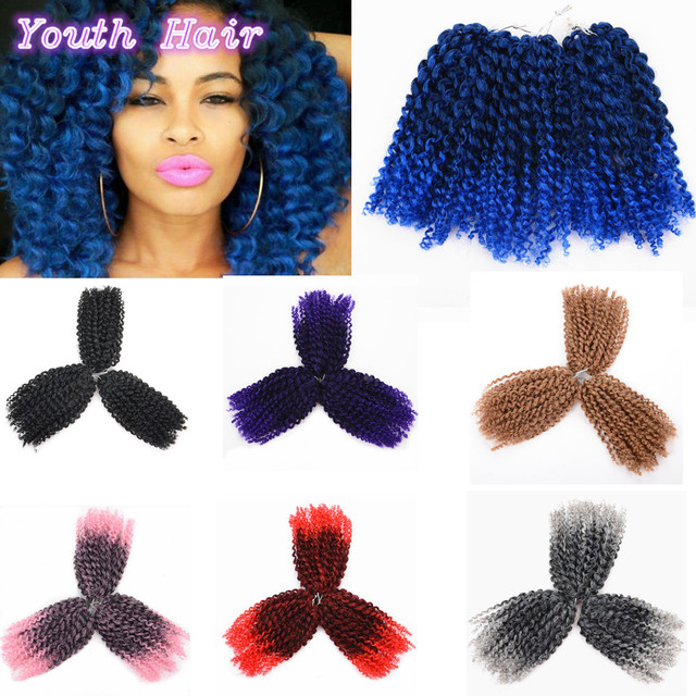 8 Inch Short Curly Crochet Braid Hair 90gset Freetress Ombre