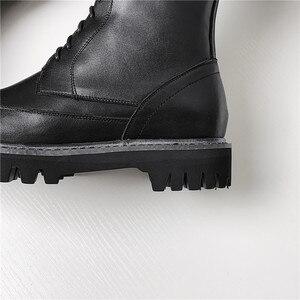 Image 5 - MORAZORA 2020 heißer verkauf echtem leder plattform schuhe frauen Motorrad Stiefel zip lace up herbst winter kniehohe stiefel weibliche