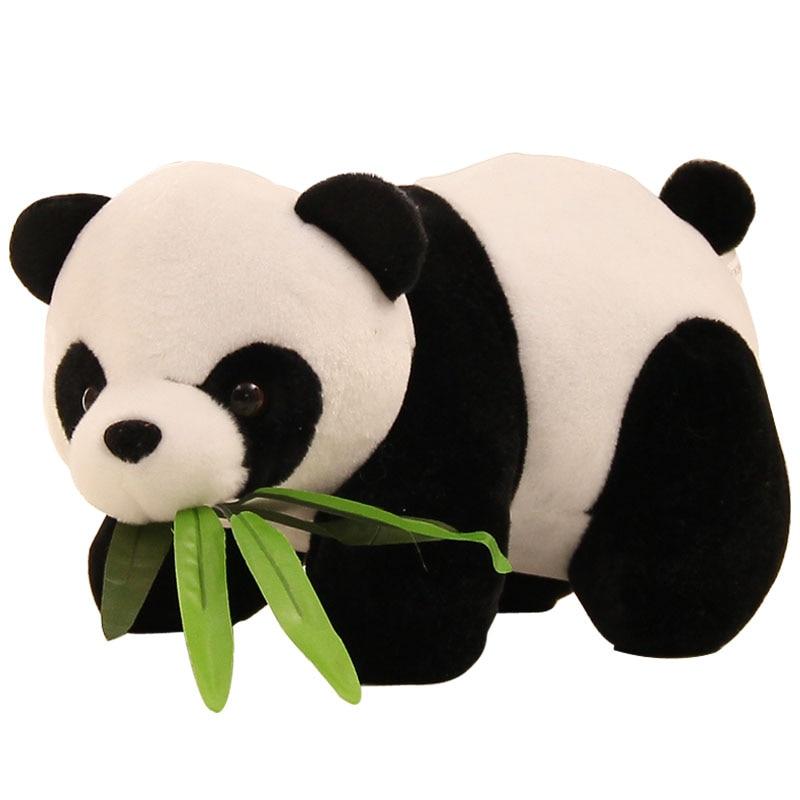 10cm Plush Toy Panda With Bamboo Leaf Stuffed Soft Animal Doll Kawaii Mini Panda Toys Cartoon Gift For Kids On Bag / Car