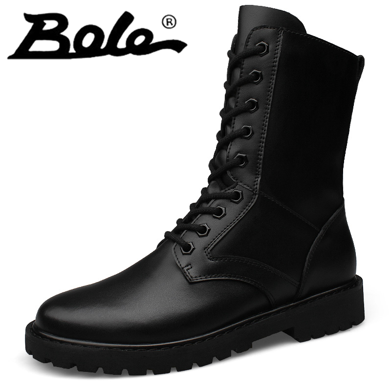 Plus Size37-52 Boots for Men Short Plush Warm Flat High Top Boots Single Boots Round Toe Lace Up Hard Wearing Snow Solid Boots